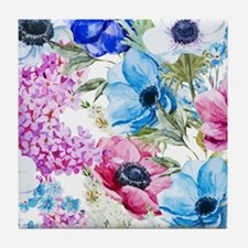 Chic Watercolor Floral Pattern Tile Coaster