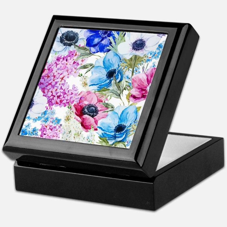 Chic Watercolor Floral Pattern Keepsake Box