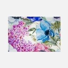 Chic Watercolor Floral Pattern Rectangle Magnet