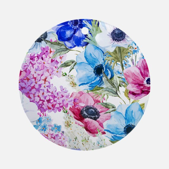 Chic Watercolor Floral Pattern Ornament (Round)