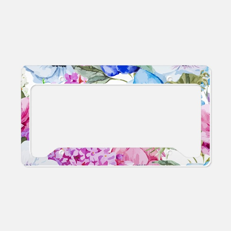 Chic Watercolor Floral Patter License Plate Holder