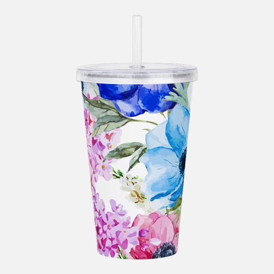 Chic Watercolor Floral Acrylic Double-wall Tumbler
