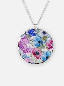 Chic Watercolor Floral Patte Necklace