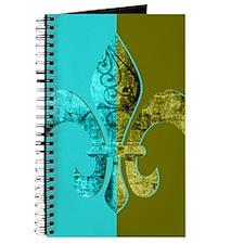 Turquoise Olive Green Split Fleur De Lis Journal