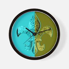 Turquoise Olive Green Split Fleur De Li Wall Clock