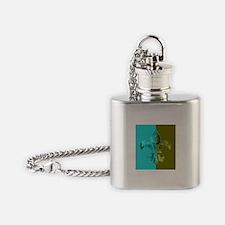 Turquoise Olive Green Split Fleur D Flask Necklace