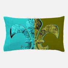 Turquoise Olive Green Split Fleur De L Pillow Case