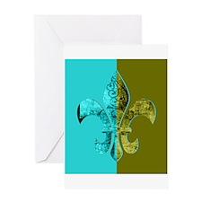 Turquoise Olive Green Split Fleur D Greeting Cards