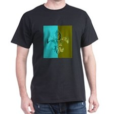 Turquoise Olive Green Split Fleur De Lis T-Shirt