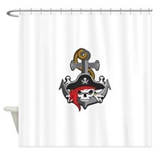 Pirate Skull Anchor Shower Curtain