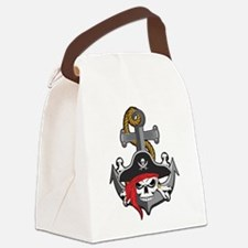 Pirate Skull Anchor Canvas Lunch Bag