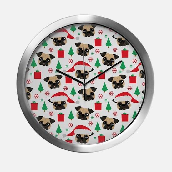 Cute Pug Christmas Print Modern Wall Clock