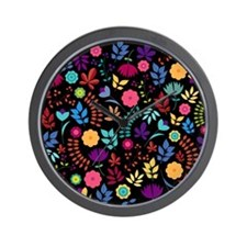Modern Chic Floral Pattern Wall Clock