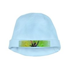 Surfing, surfboarder with plam baby hat