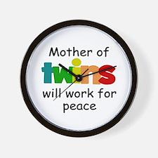 Mom of twins Wall Clock