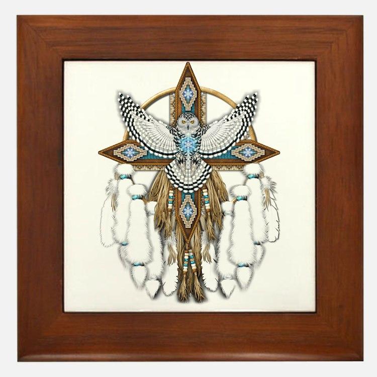 Snowy Owl Mandala Framed Tile