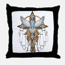 Snowy Owl Mandala Throw Pillow