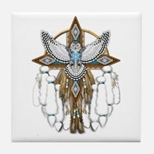 Snowy Owl Mandala Tile Coaster