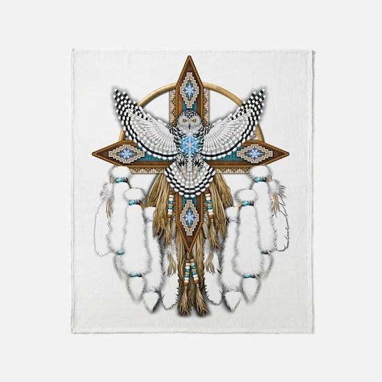 Snowy Owl Mandala Throw Blanket