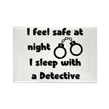 Sleep with Detective Rectangle Magnet