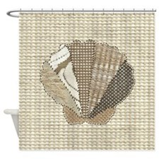 Stitched Faux Fabric Scallop Seashe Shower Curtain