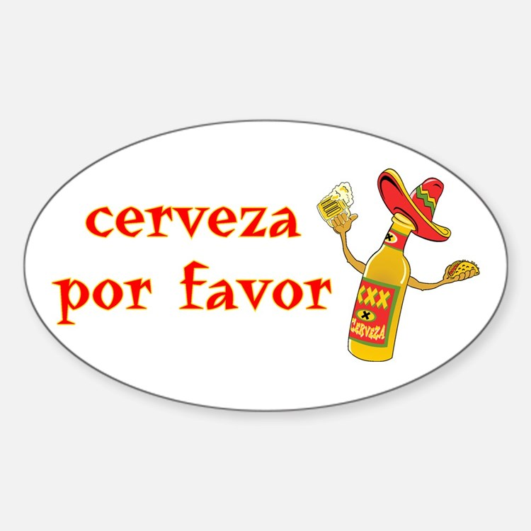 Cerveza Por Favor @Scott Designs Oval Decal