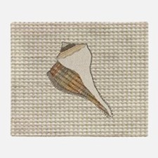 Stitched Faux Fabric Whelk Seashell  Throw Blanket