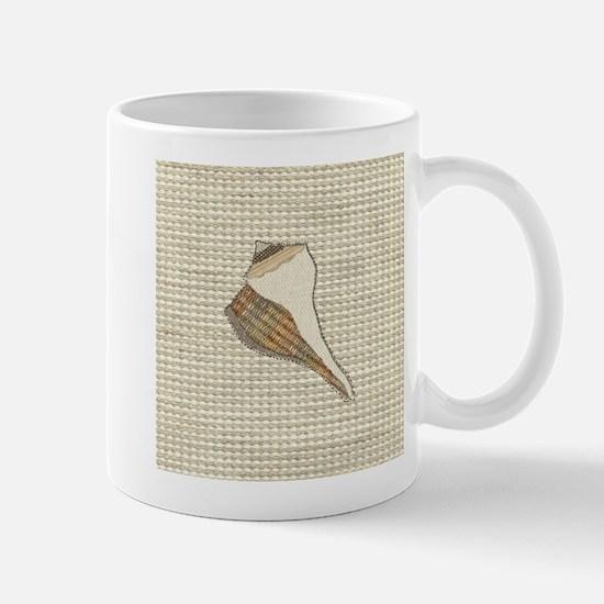 Stitched Faux Fabric Whelk Seashell Mugs