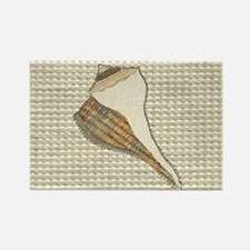 Stitched Faux Fabric Whelk Seashell Magnets