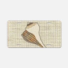 Stitched Faux Fabric Whelk Aluminum License Plate