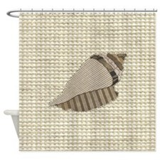 Stitched Faux Fabric Collage Seashe Shower Curtain