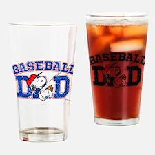 Snoopy Baseball Dad Drinking Glass