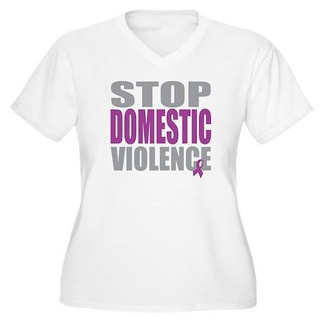 Stop Domestic Violence Women's Plus Size V-Neck T-
