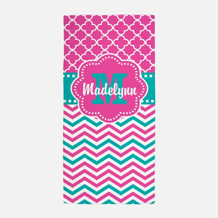 Pink Teal Quatrefoil Personalized Beach Towel