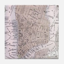 Vintage Map of New York City (1884) Tile Coaster