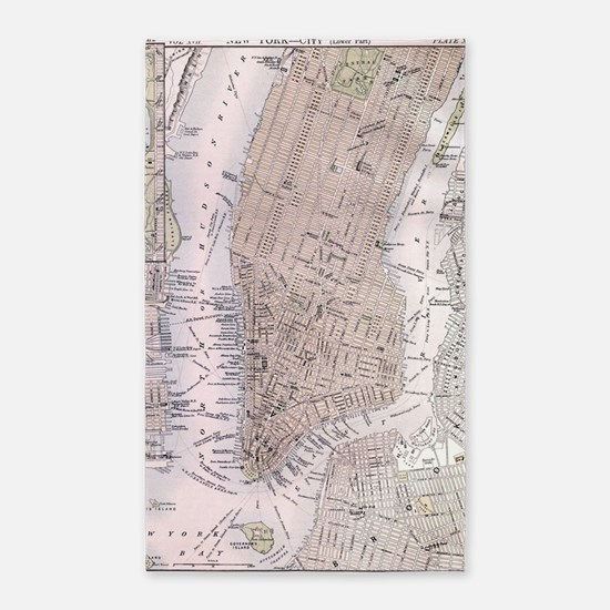 Vintage Map of New York City (1884) Area Rug