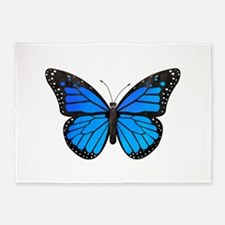 Blue Monarch Butterfly Watercolor 5'x7'Area Rug