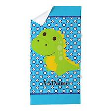 Dinosaur Polka Dots Personalized Beach Towel