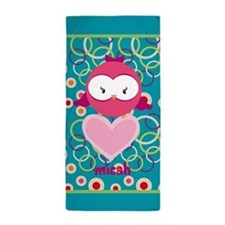 Cute Owl Heart Personalized Beach Towel