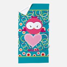 Cute Owl Heart Personalized Beach Towel
