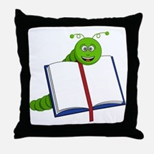 Cartoon Bookworm Throw Pillow