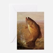 Vintage Bass Fish Greeting Cards