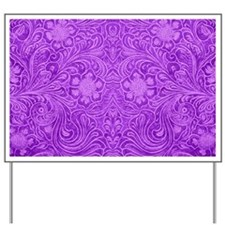 Purple Faux Leather Floral Embossed Look Yard Sign