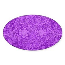 Purple Faux Leather Floral Embossed Look P Decal