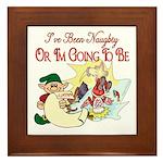 Naughty Elf & Santa Framed Tile