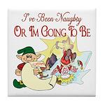 Naughty Elf & Santa Tile Coaster