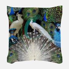 Pretty Peacocks Woven Throw Pillow