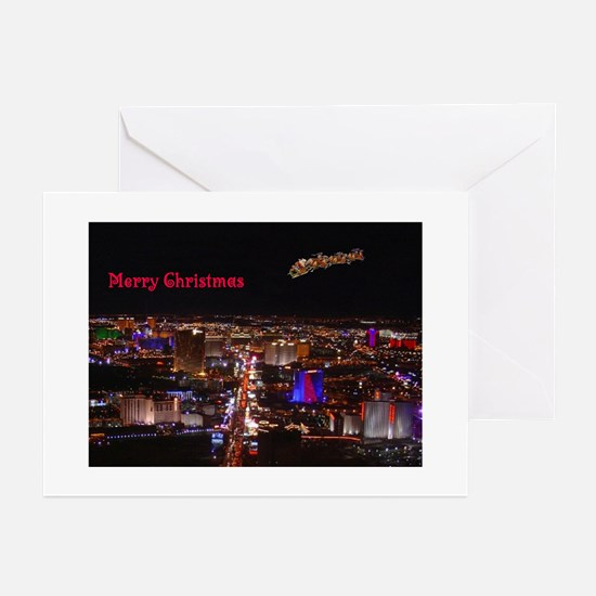 Las Vegas Santa & Reindeers Cards 10 Greeting Card
