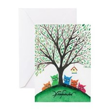 Birdhouse Stray Cats Greeting Card