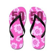 50th Birthday Flowers Flip Flops